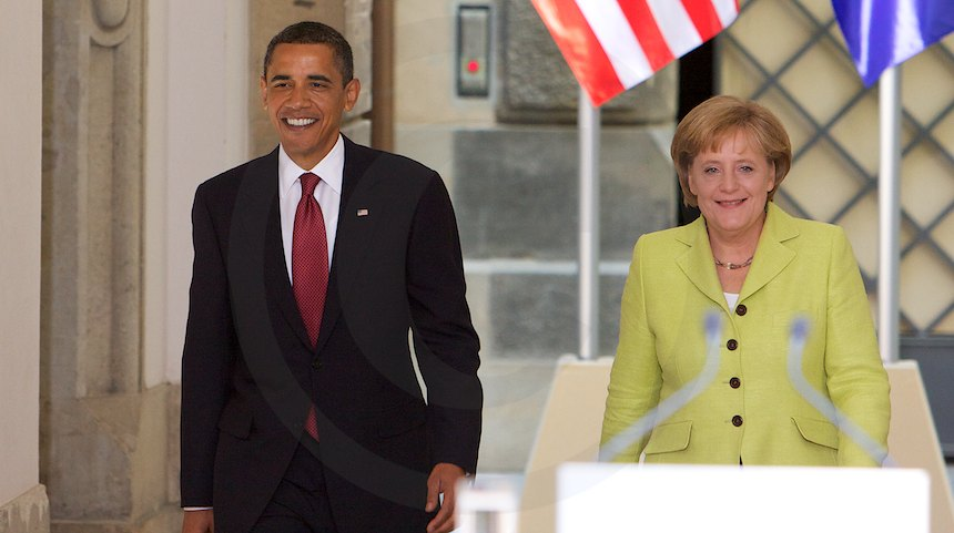 Barack Obama und Angela Merkel auf dem Weg zur Pressekonferenz im Residenzschloss Dresden, 5. Juni 2009 , Fot. b. s. m.